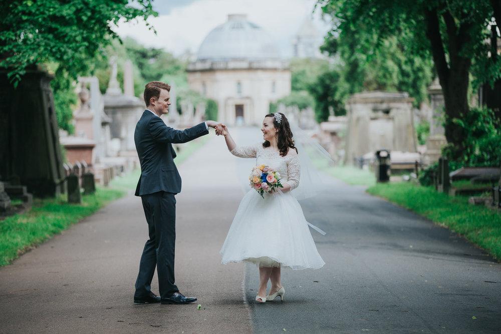 dancing groom bride Brompton Cemetery wedding photography.jpg