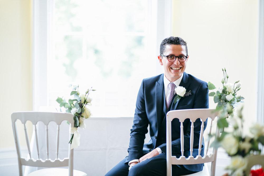 groom waiting for Clissold House wedding Hackney Ceremony.jpg