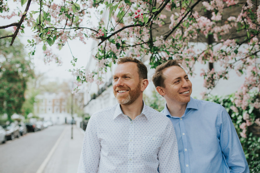 Two grooms couple portrait cherry blossoms Chelsea wedding.jpg