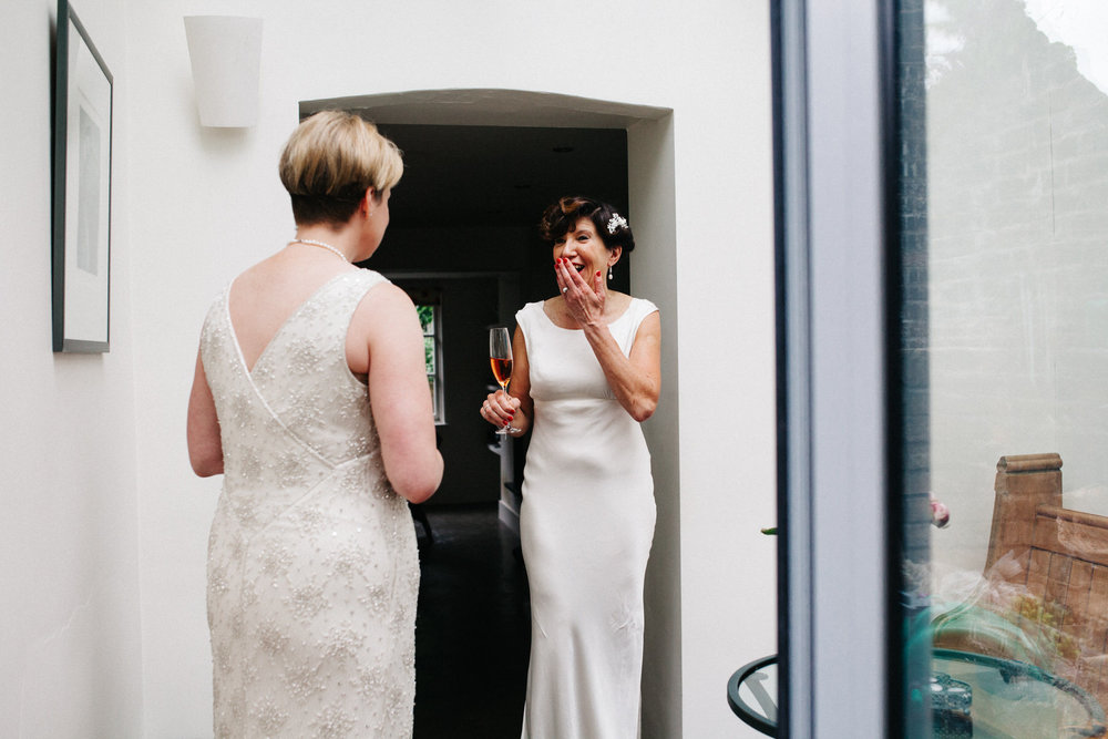 Two brides first look Islington wedding.jpg