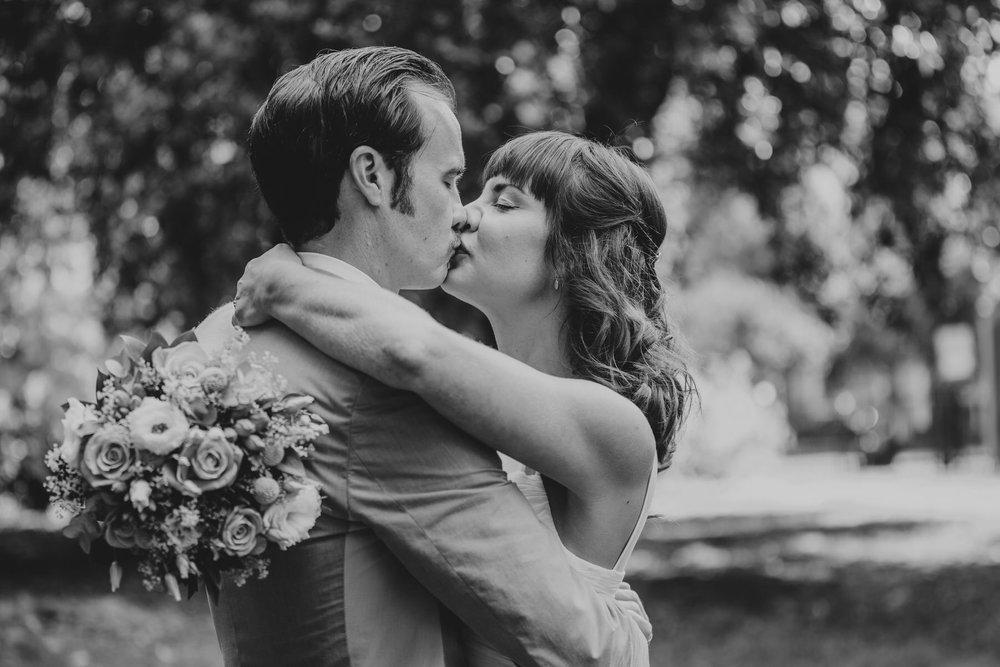 Stoke newington wedding bride groom romantic kiss BW.jpg