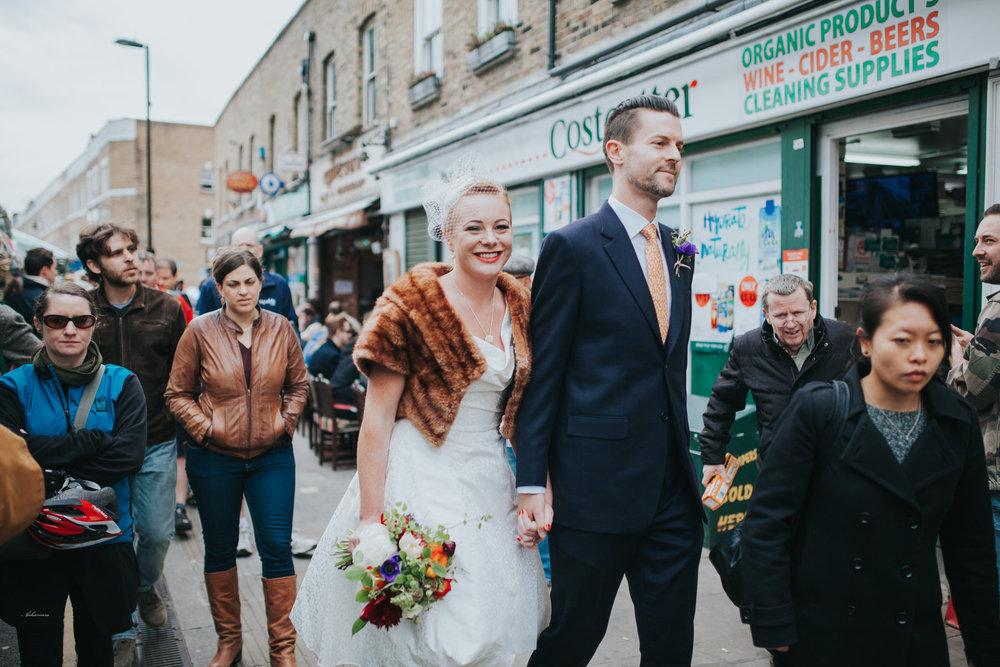 Broadway market London bride groom reportage wedding photos.jpg
