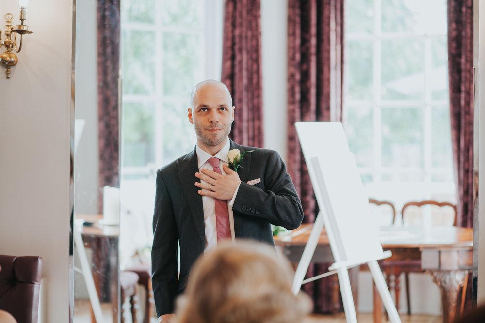 emotional grooms speech Belair House London wedding.jpg