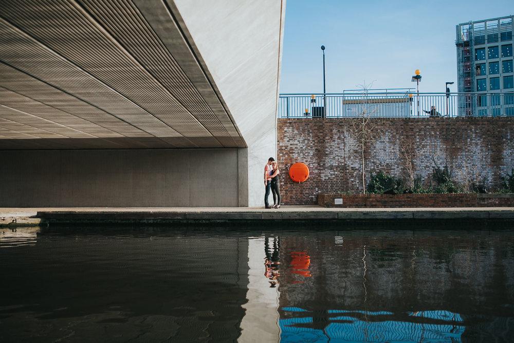 Regents canal reflection London couple engagement session.jpg