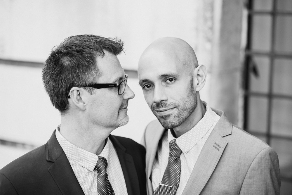 strong male couple wedding portraits BW.jpg