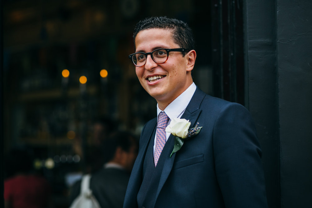 The Stag Hampstead wedding reception groom portrait.jpg
