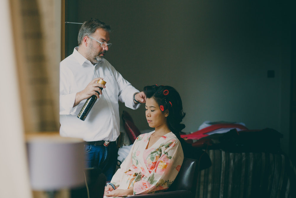 28 Woodlands Hotel Severin Hubert doing brides hair.jpg