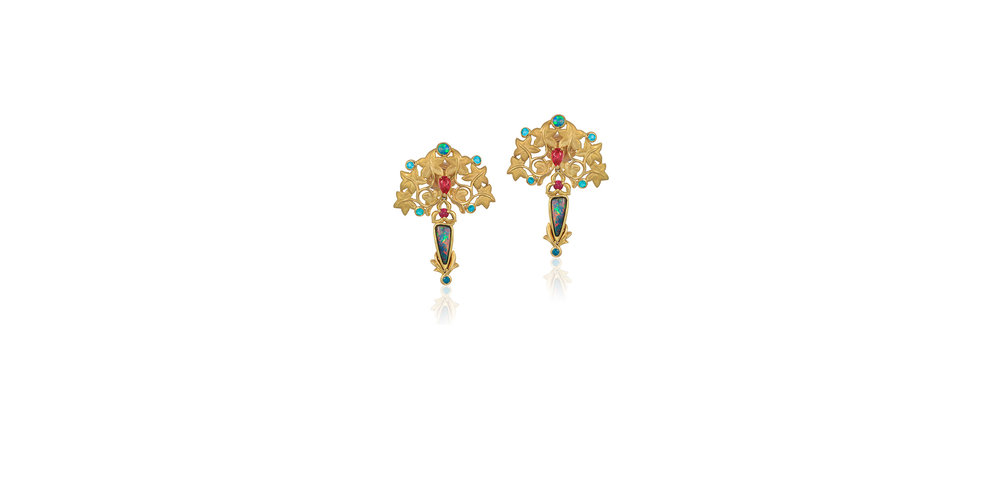 OPAL AND SPINEL EARRINGS