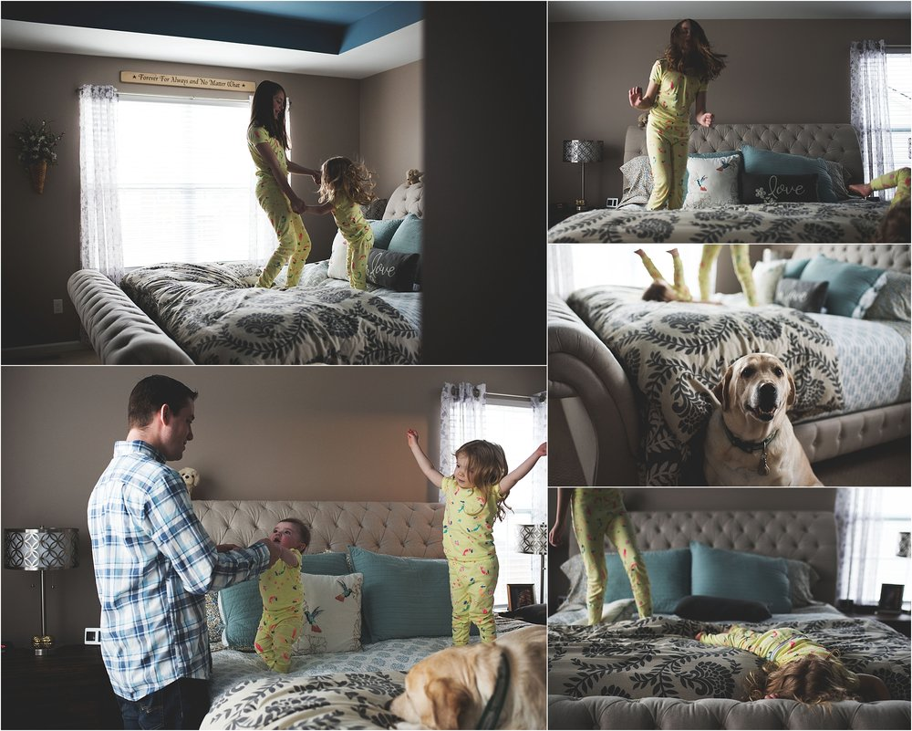 karra lynn lifestyle newborn photographer - children jumping on bed
