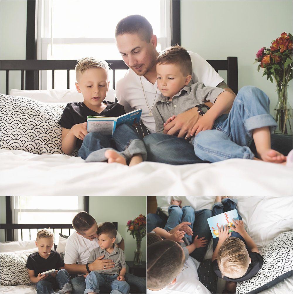 karra lynn photography - family lifestyle photographer michigan - boys and dad reading