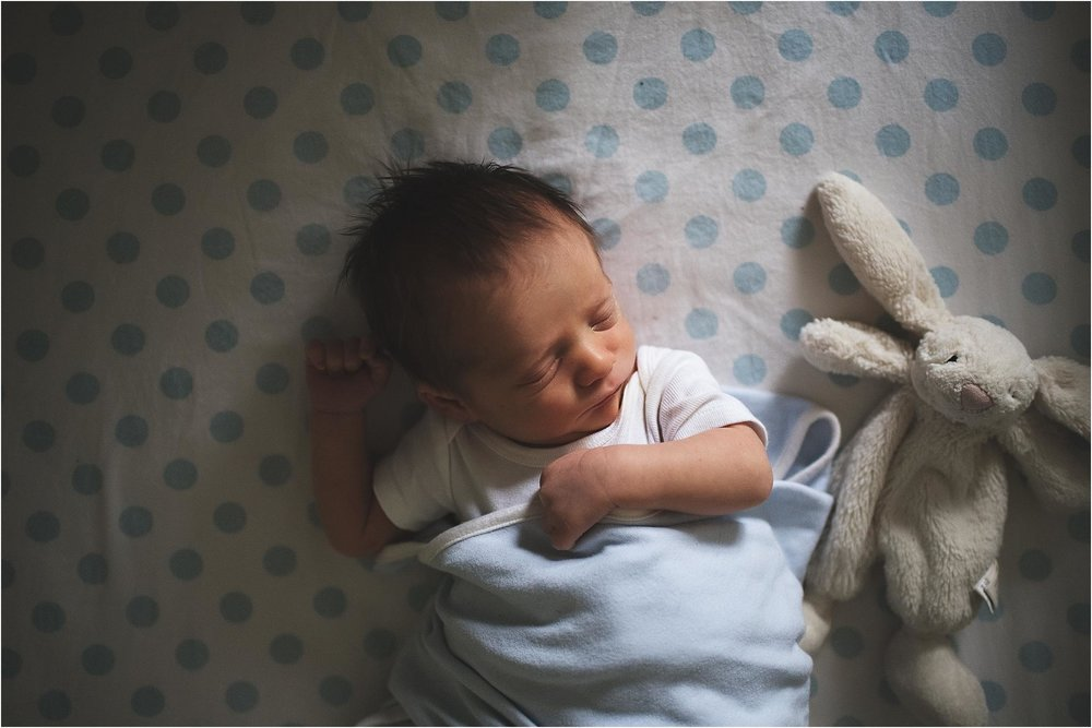 newborn photography plymouth michigan baby sleeping with bunny