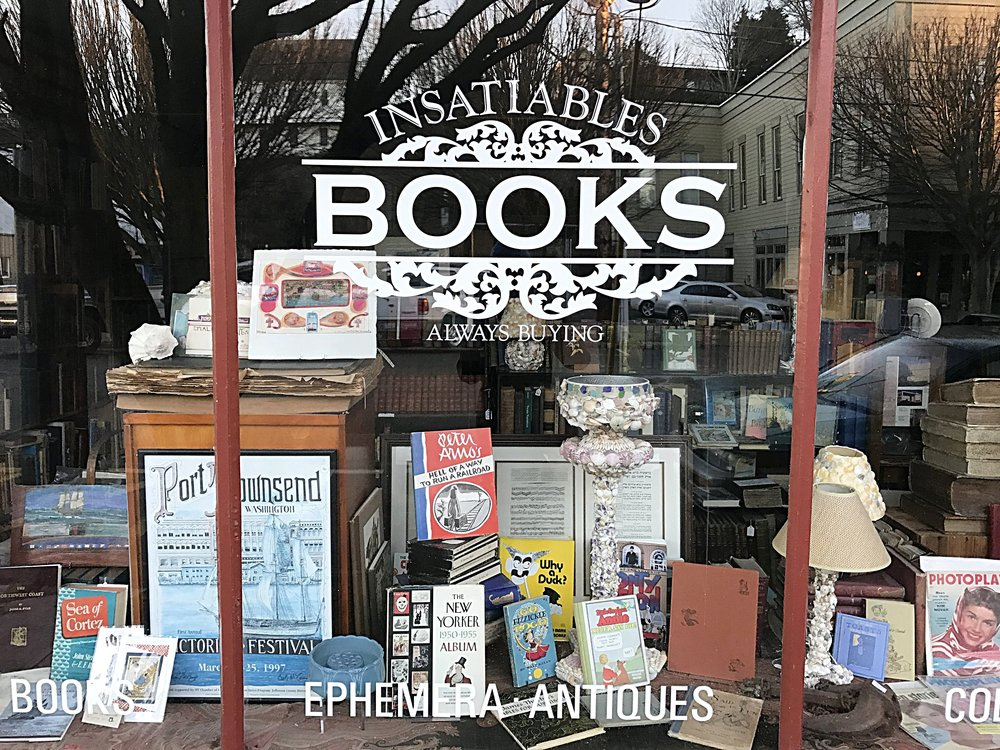Outside Insatiables Books, one of Five Bookstores Downtown Port Townsend.