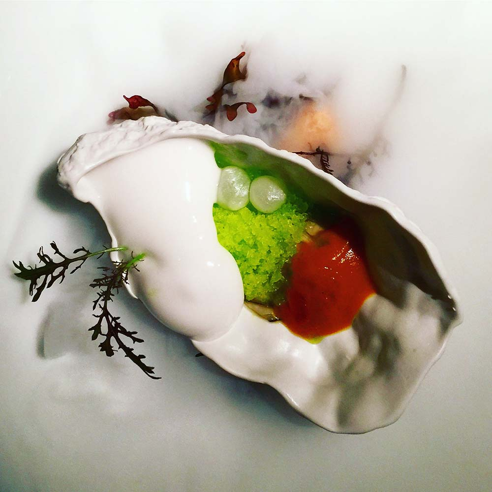 Molecualr gastronomy at Martín Berasategu in San Sebastián. This 'oyster' was served over dry ice.