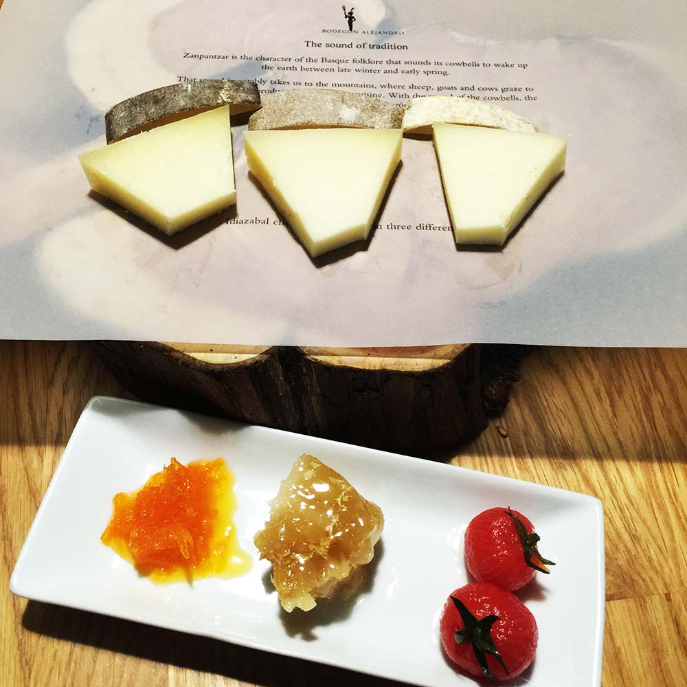 The same cheese, just aged for different lengths of time. An interesting twist on a classic cheese plate at Bodegon Alejandro