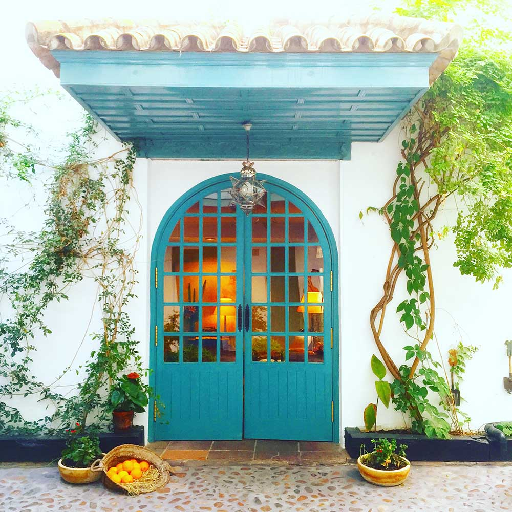 Our beautiful hotel in Seville,  Hotel Hospes Las Casas del Rey de Baeza , where the streets are lined with orange trees.