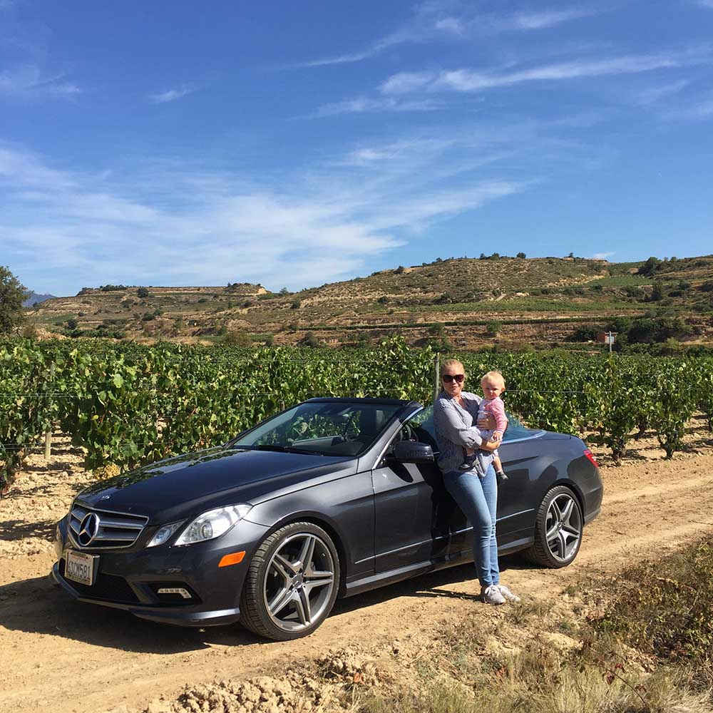 Here we are at the Artardi Vineyard. Our car was a bit of a conversation starter due to our Californian number plates... you don't see many of those in Spain!