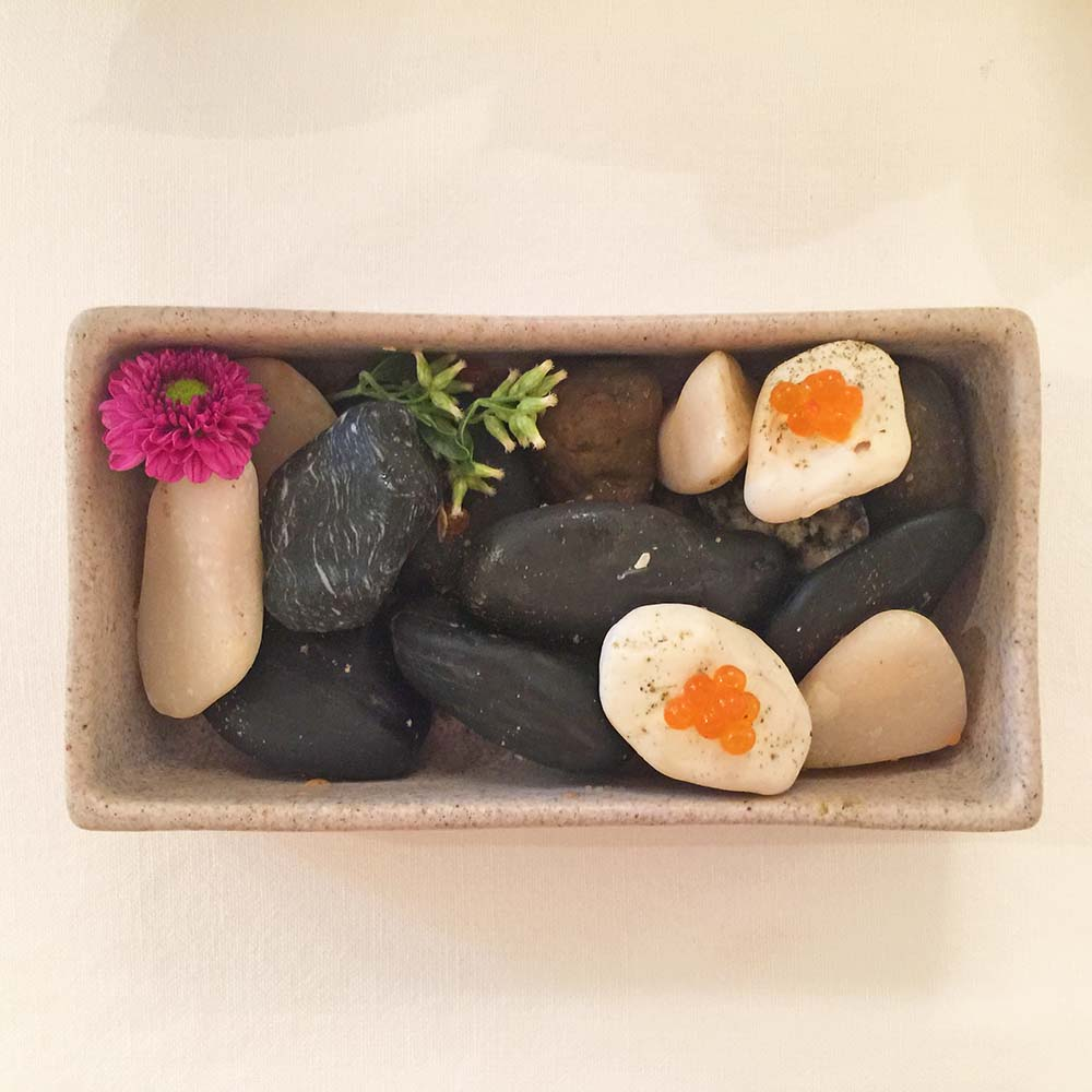An amuse bouche of edible 'rocks' at Lisbon's restaurant Belcanto.