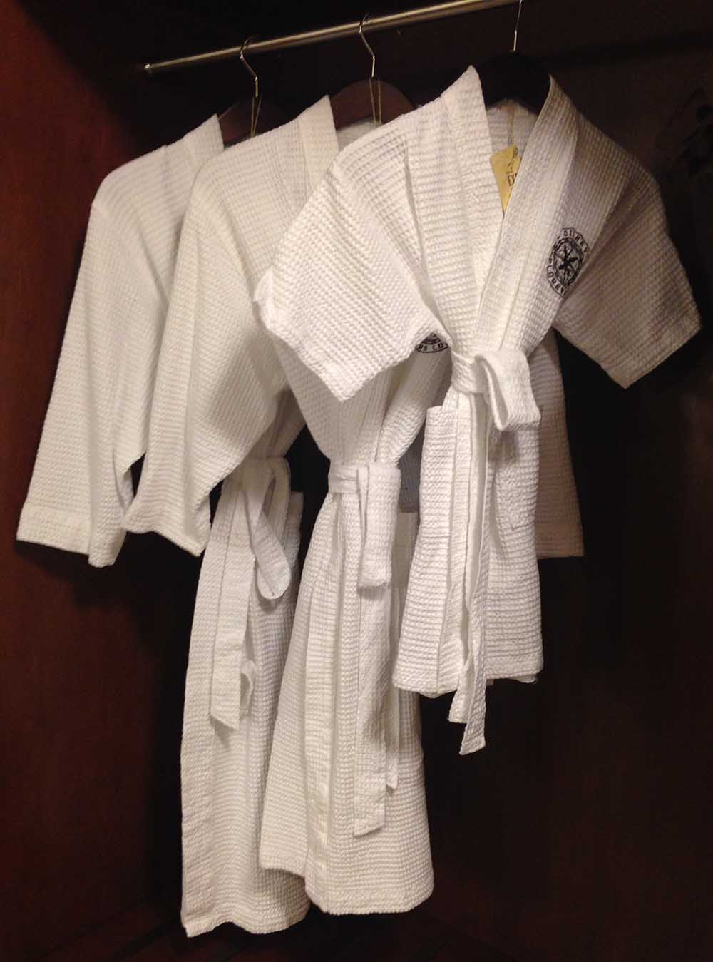Gowns in 3 sizes at the  Disney Explorers Lodge  hotel; papa bear, mama bear, and baby bear. Too cute for words.