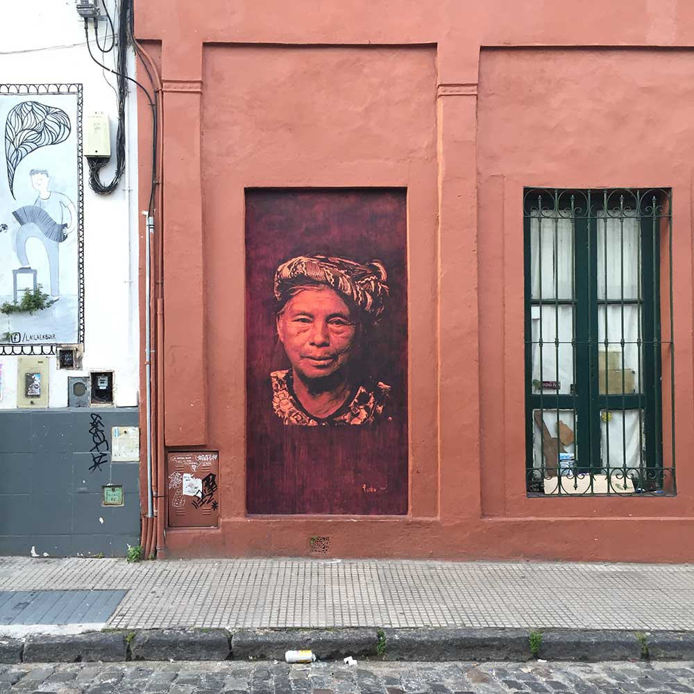 Street art in San Telmo. This is Buenos Aires bohemian neighborhood, and it has a fabulous street fair every Sunday that's definitely worth checking out.