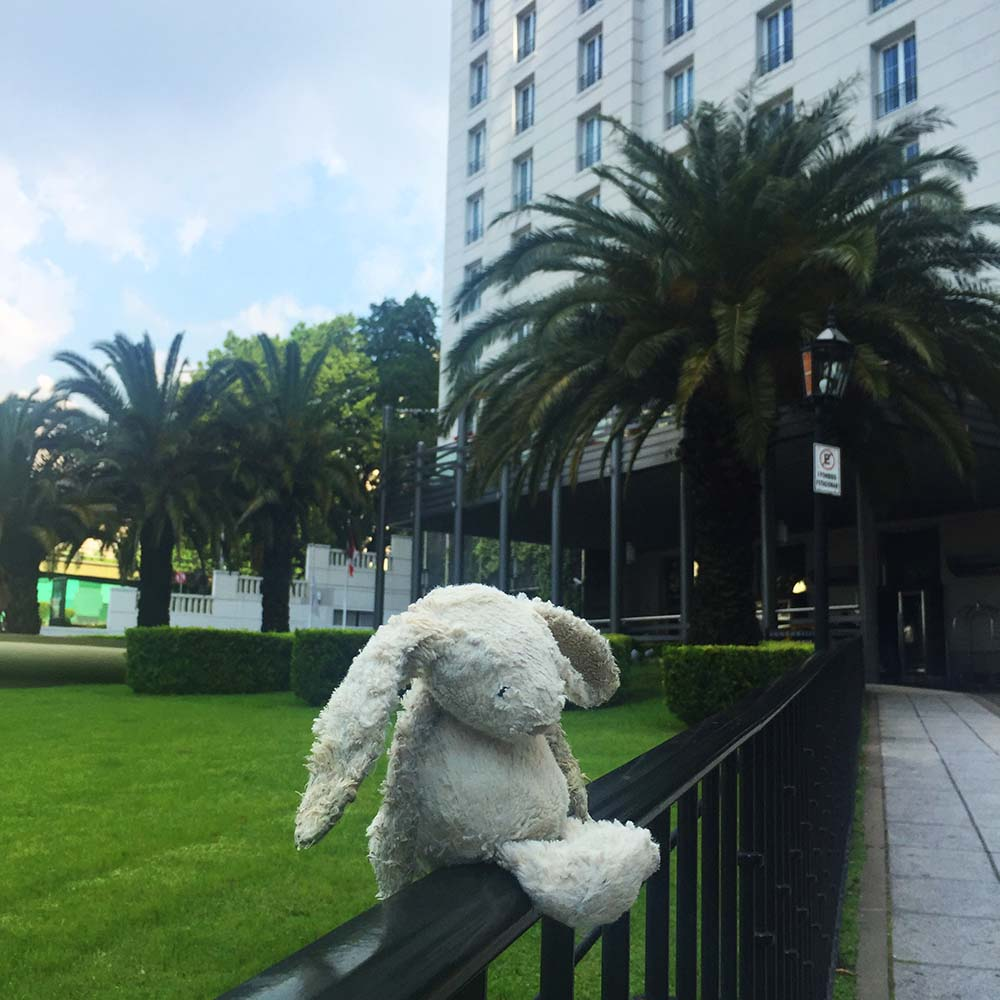 On one of our long walks around Buenos Aires, Rosie somehow dropped her beloved Dirty Bunny out of her stroller. On this trip, we didn't bring an identical spare, so we retraced our steps (for miles and miles!)until we found him. A kind person had clearly figured out that this much loved toy had been lost, and positioned him high up on this park fence so he'd be easier for us to find. Now we've learnt our lesson, and we travel with at least one spare.