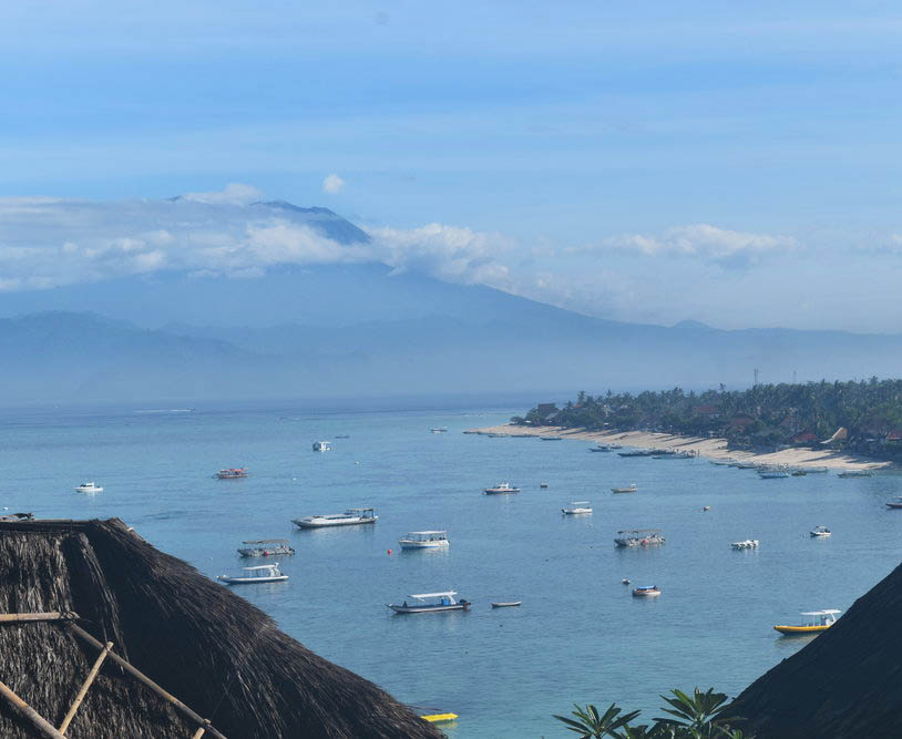 Mount Agung; a view of the volcano from Nusa Lembongan.