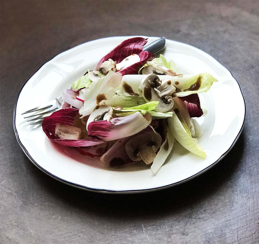 Endive, radish, and mushroom salad.