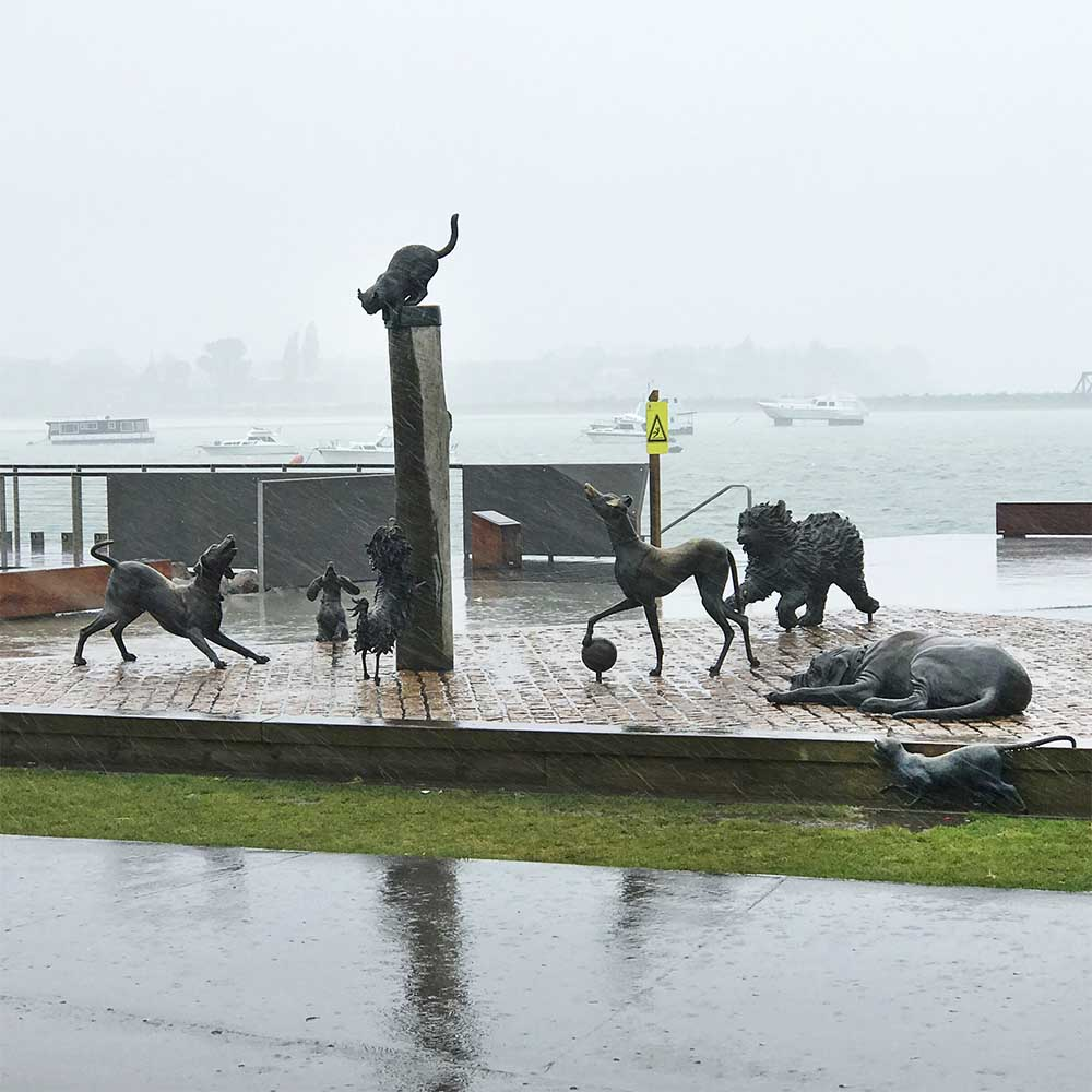 How ironic that it was raining cats and dogs! We parked really close to the sculptures and took this photo from the door of the RV.