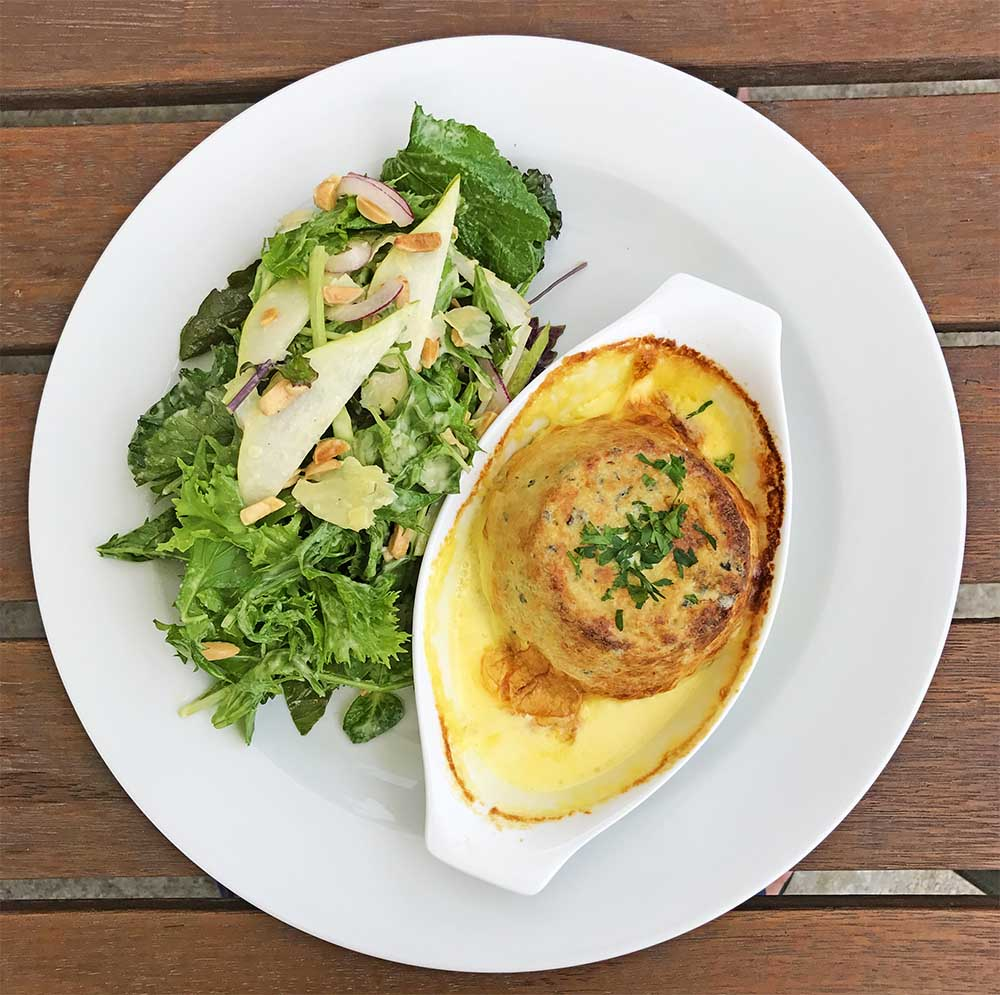 This double baked blue cheese soufflé with a rocket pear and almond salad also hit the spot.