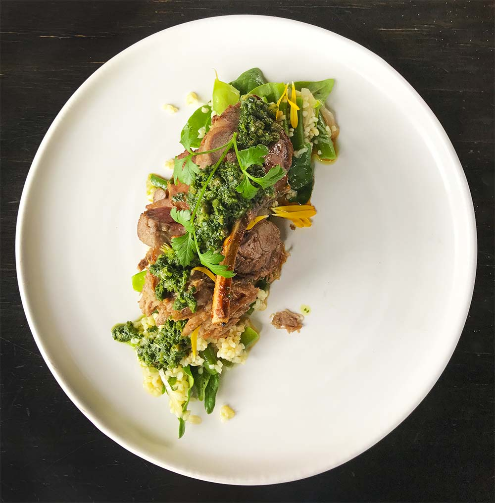 Lunch at Black Estate. New Zealand lamb is arguably the best in the world, and this salad of organic lamb with bulgur wheat, spring greens and salsa verde really showed off the country's top quality produce.