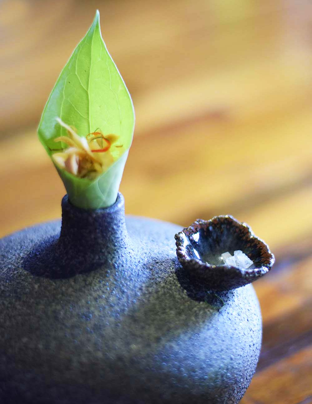 One of the beautifully presented bite-sized canapes served at Locavore in Ubud.