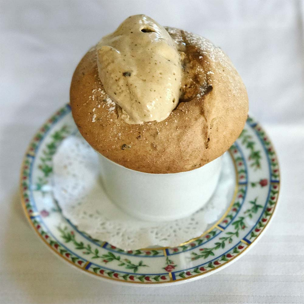 Agen prune and Armagnac souffle.