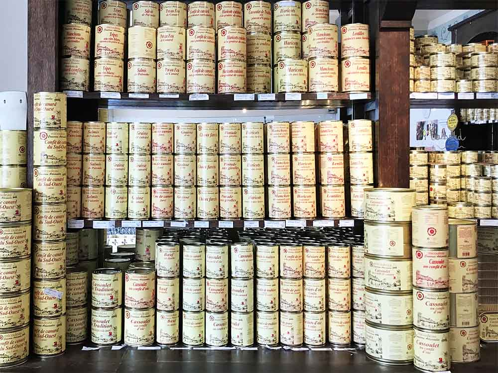 We discovered a new 'charcuterie' shop with rows and rows of regional delicacies made locally and sold in these tins. Everything from cassoulet to confit de canard.