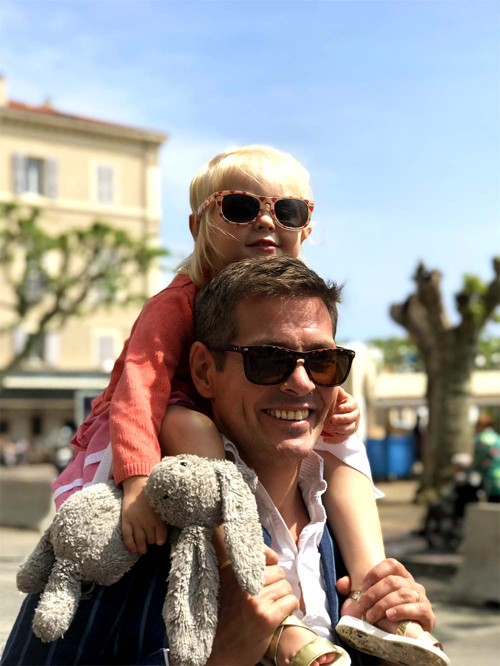 We didn't bring Rosie's stroller on this trip, so she spent a bit of time on Justin's shoulders when the walking became too tiring.