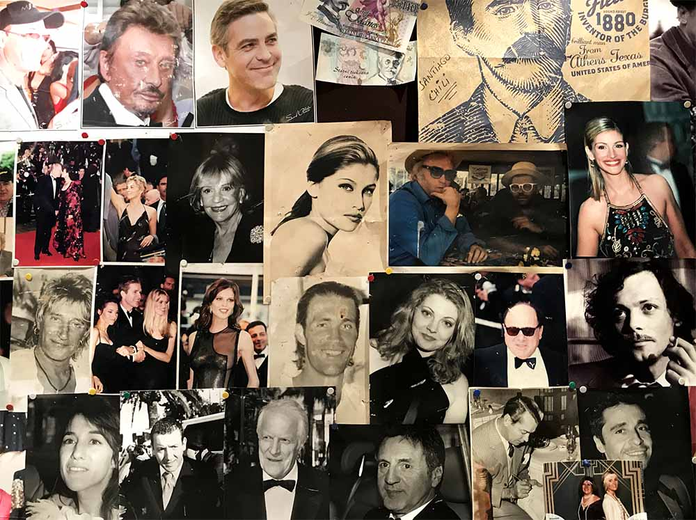 A wall of celebrity photos decorated the wall at the restaurant where we dined for lunch.