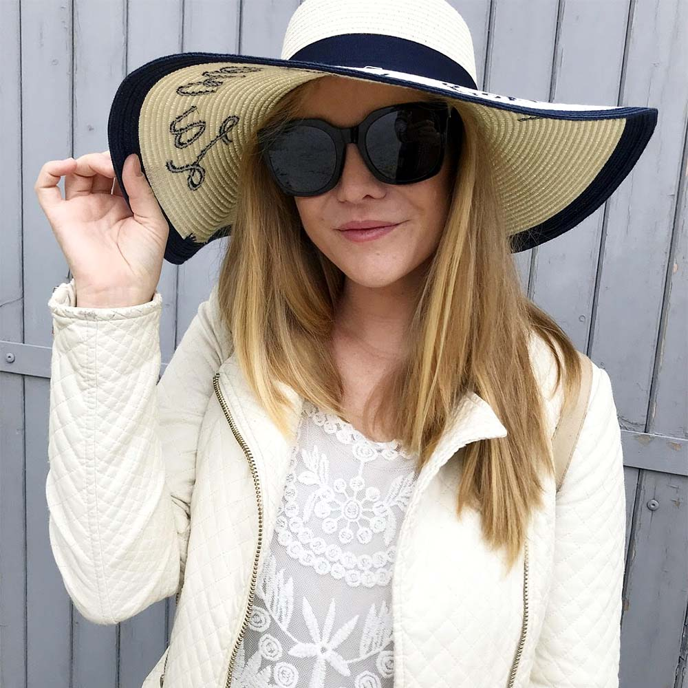 Feeling ready for Saint-Tropez in my new hat and sunnies.