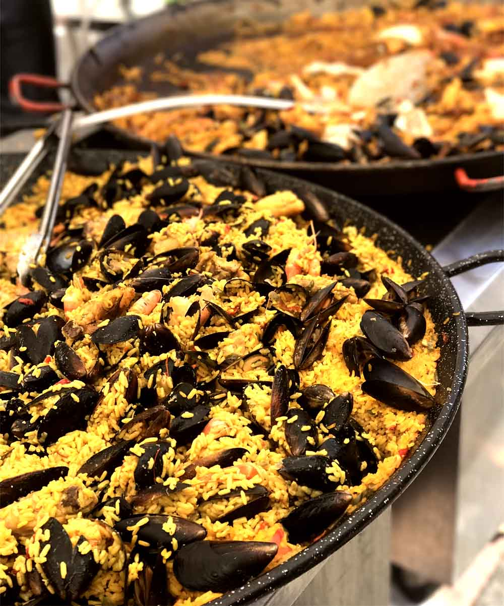 There is a lot of Spanish influence in the food in South West France, like this paella which was for sale at a local farmer's market.