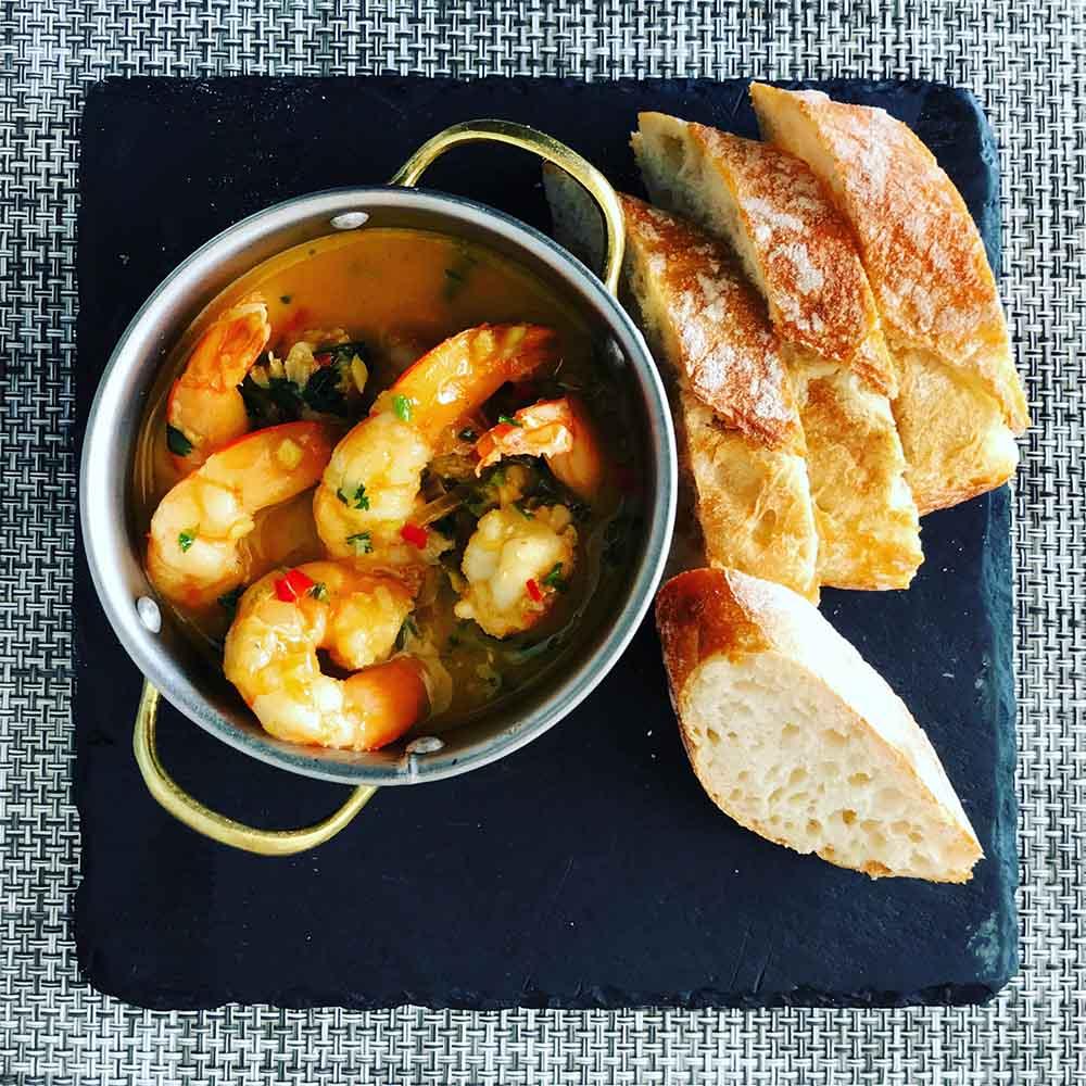 The most sensational prawns in a ginger, garlic, lemon and parsley sauce at Vestigius.