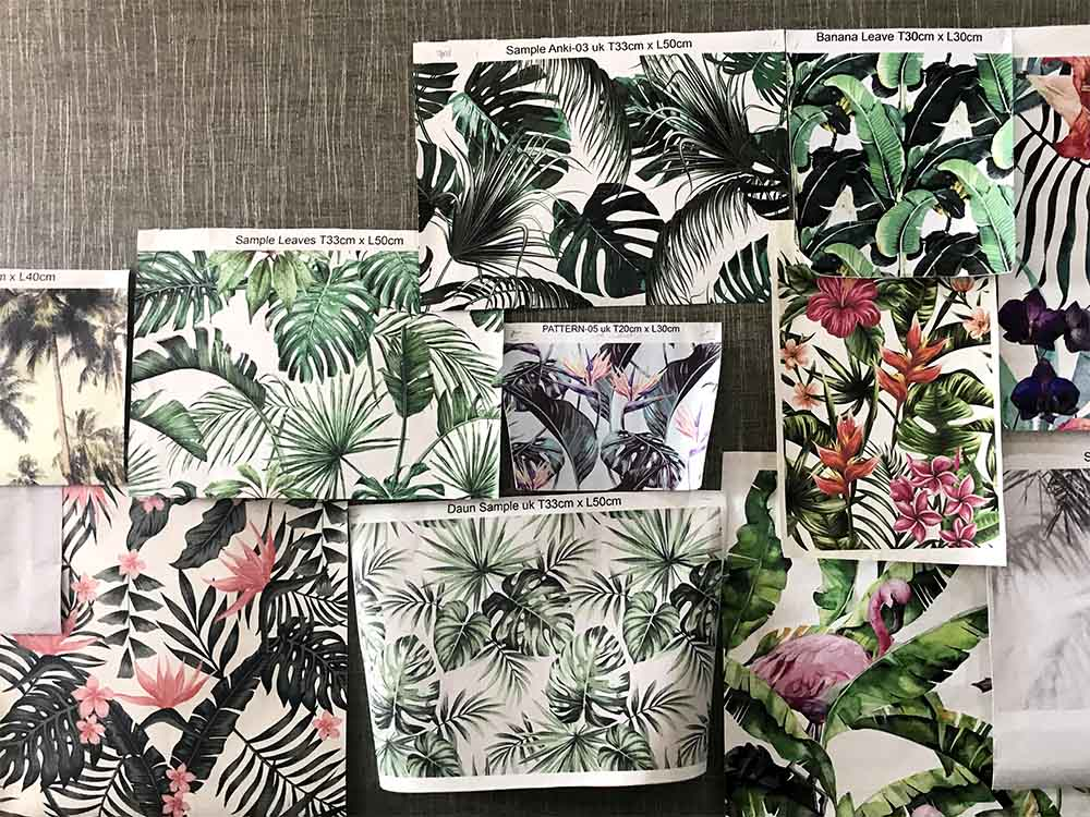 Tropical wallpaper ideas for one of the bathrooms in  our home in Bali .