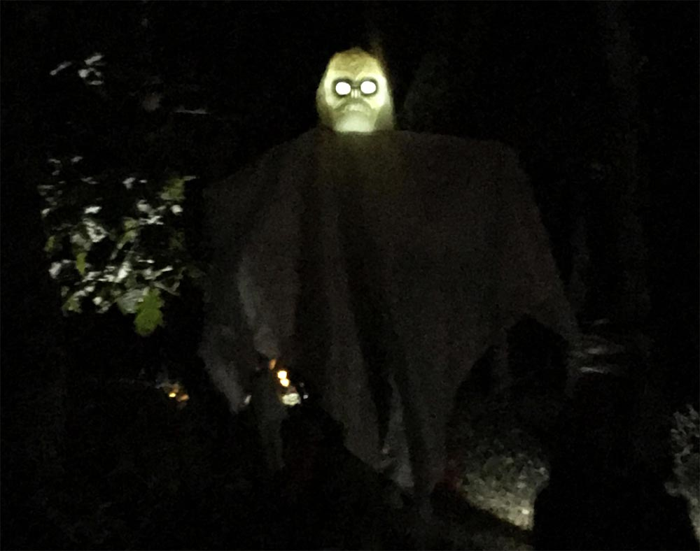 This ghost was hanging from a tree in the woods. He is sensor activated so, as the children approached him, his lights turned on and he began to howl quite terrifyingly.