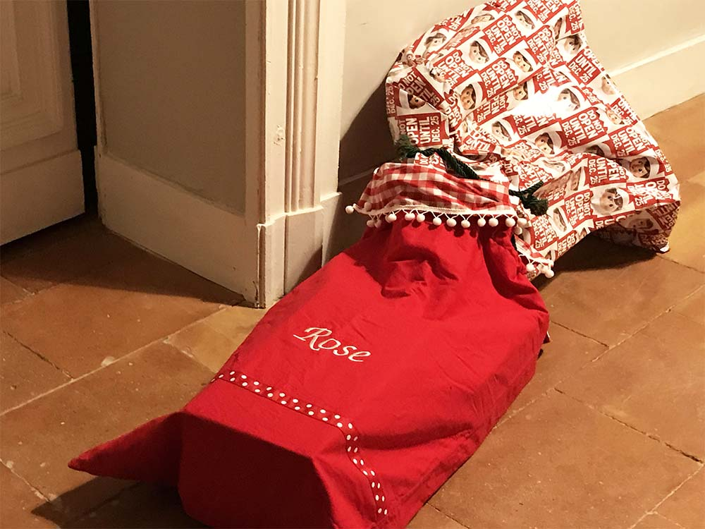 Rosie's Santa sack full to the brim.