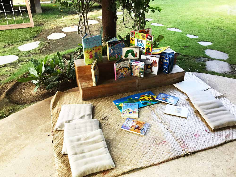 A sweet outdoor reading nook in the playground.