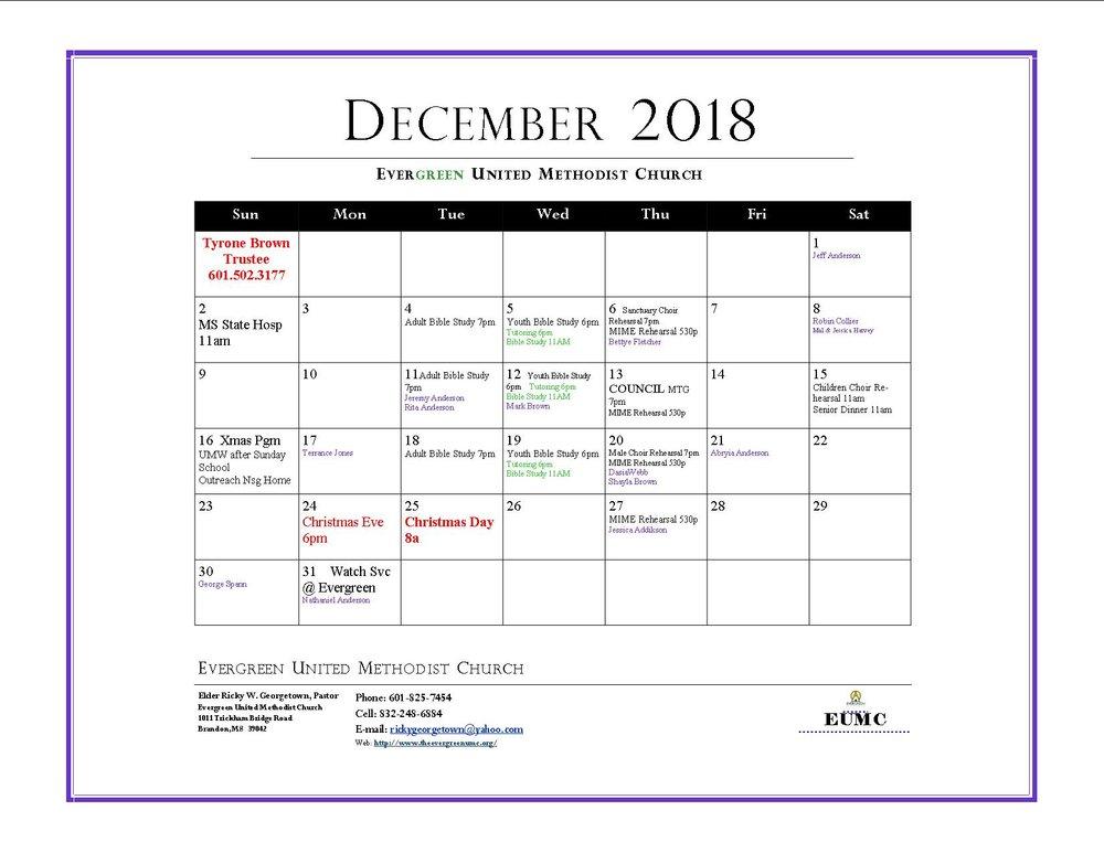 december 2018 calendar evergreen