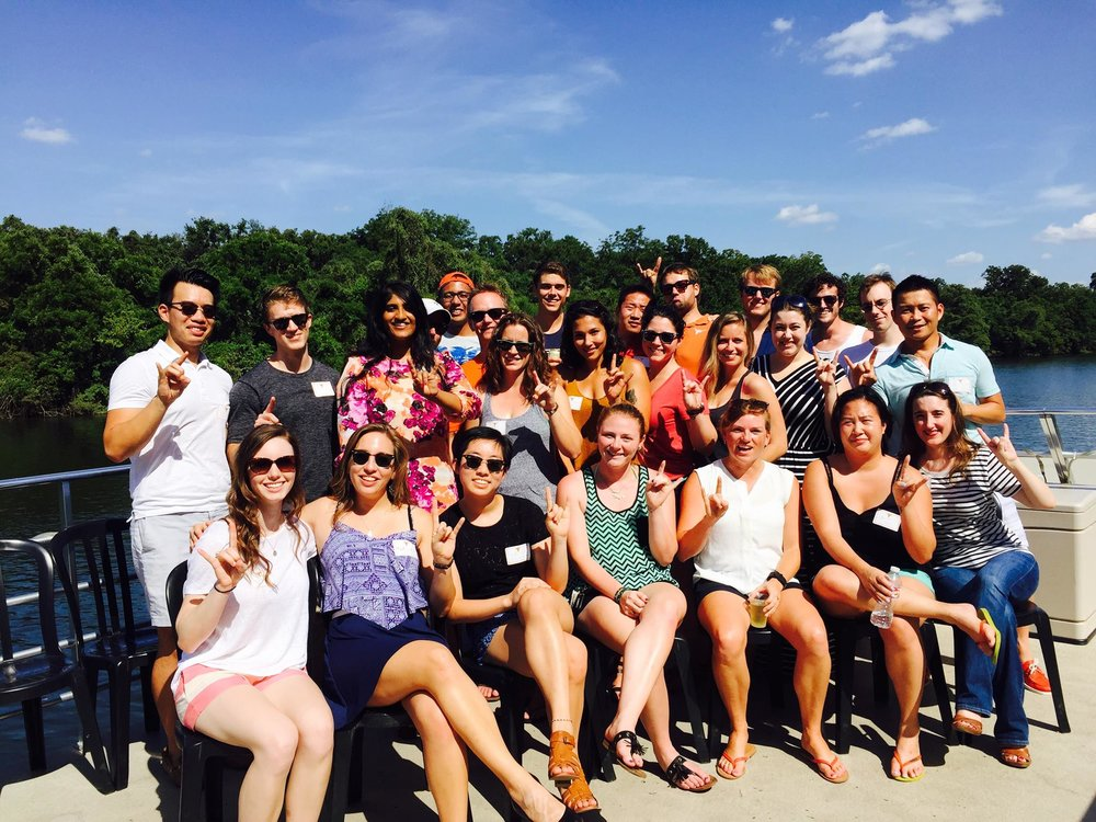 Texas Crew alums and current rowers congregate on the water during Alumni Weekend 2015
