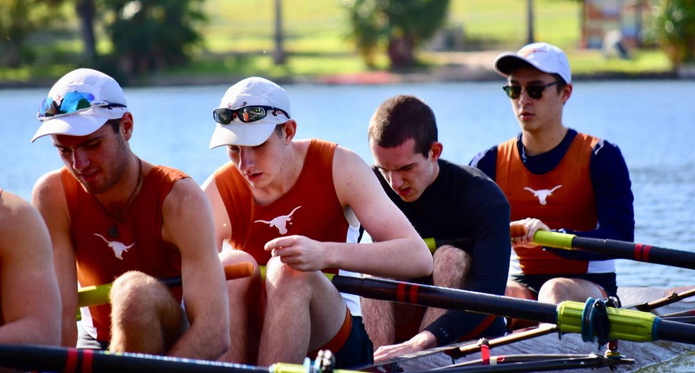 One of Texas Crew's Men's Lightweight 8+s launching at Festival Beach (Oct 2017)