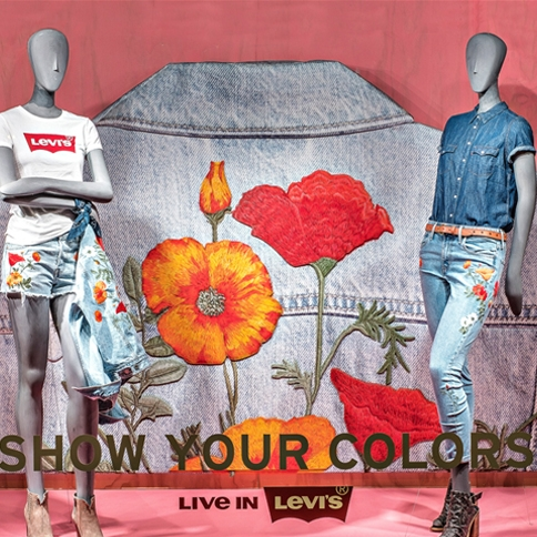 Levi's window display  at macy's