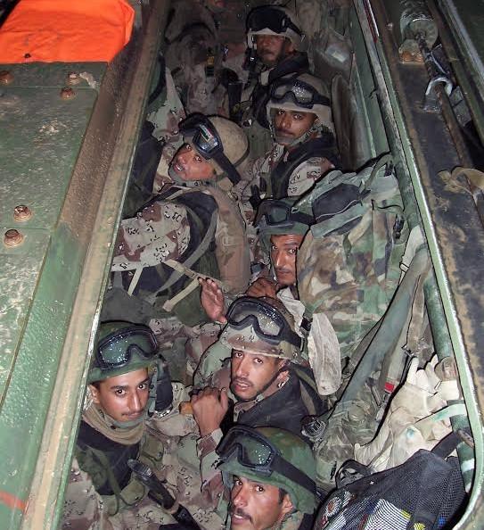 Nov. 8, 2004 predawn - Soldiers from 5th Battalion are packed into a U.S. armored assault vehicle (AAV) minutes before the breach at Fallujah.jpg