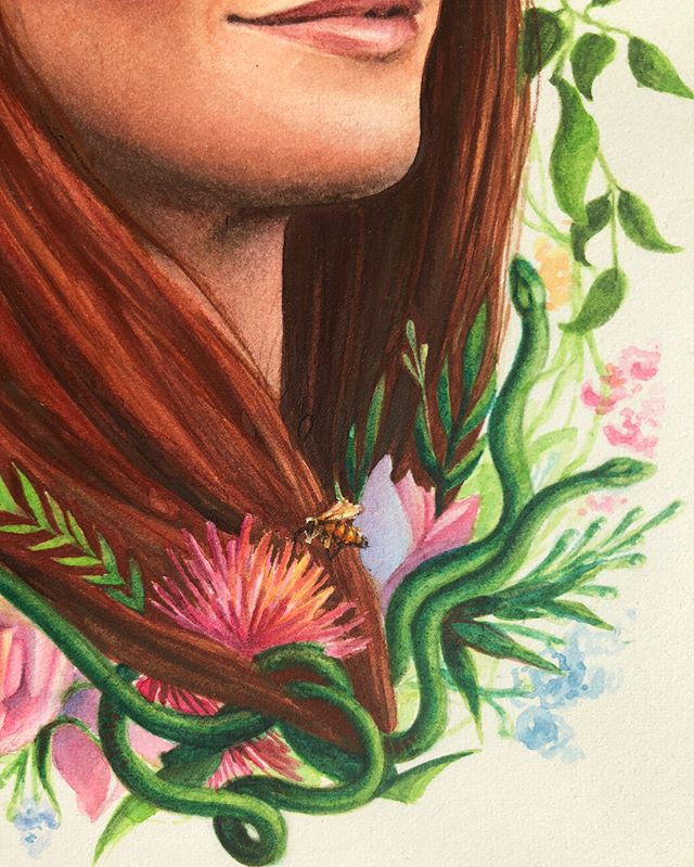 Tiny bees and snakes 🐍 🐝 . . . . . . . #watercolor #watercolorpainting #snakes #bees #honeybee #honeybees #flowers #roses #rose #garden #gardensnake #redhead #portrait #art #artist