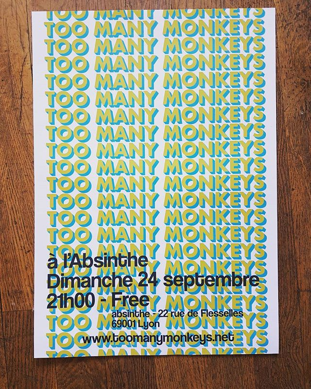 Nouvelle affiche ! On sera ce dimanche à l'Absinthe bar (lyon 1), début du concert à 21h00 !! #toomanymonkeys #band #duo #music #folk #lyon #pop #blues #soul #looppedal #absinthe #absinthebar #croixrousse #affiche #new #peterthemoon