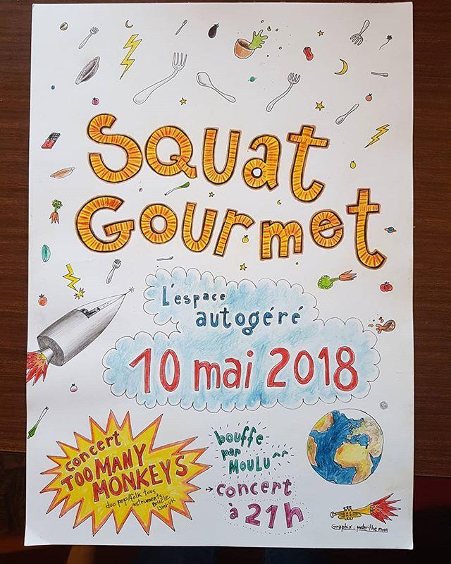 On joue la semaine prochaine à l'espace autogéré à Lausanne ! Affiche : @peterthemoon  #toomanymonkeys #music #duo #folk #pop #lausanne #squatgourmet #espaceautogere #affiche #drawing #peterthemoon