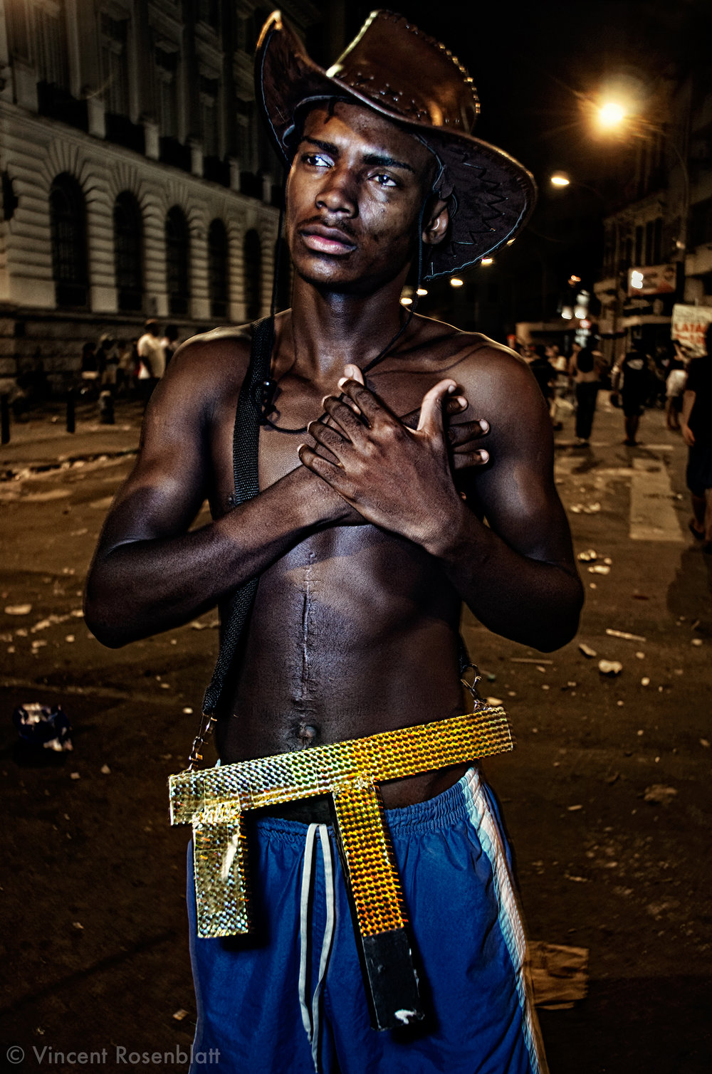"Young man dressed up as a ""Favela warrior"" for the Carnival, Rio de Janeiro 2011 // Jovem fantasiado de ""Soldado do Morro"" no Carnaval 2011."